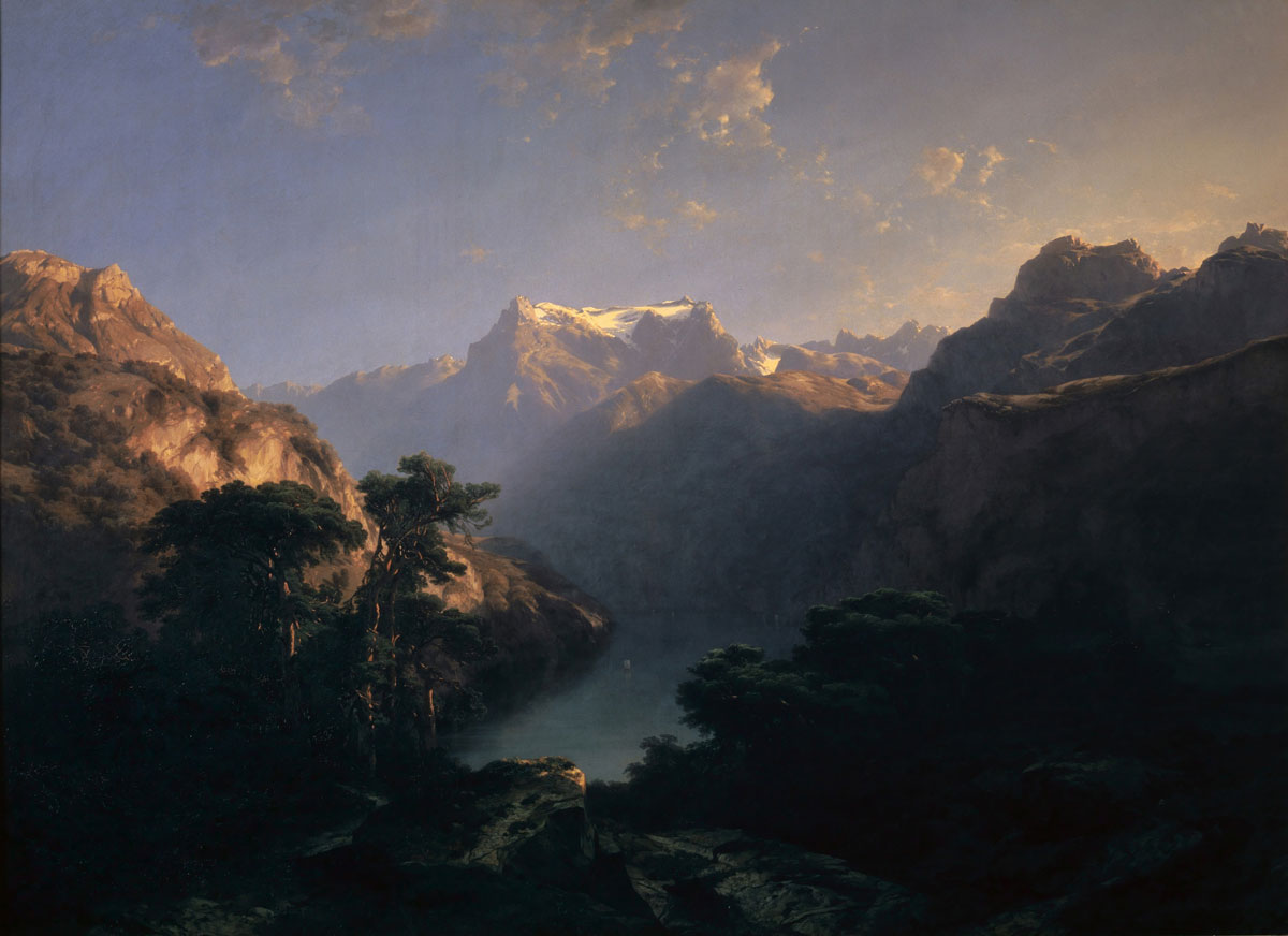 Alexandre Calame mountain swiss mountain exhibition 			kunstmuseum basel platform green nature landscape